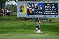 Justin Thomas (USA) hits from the trap on 14 during 2nd round of the World Golf Championships - Bridgestone Invitational, at the Firestone Country Club, Akron, Ohio. 8/3/2018.<br /> Picture: Golffile | Ken Murray<br /> <br /> <br /> All photo usage must carry mandatory copyright credit (&copy; Golffile | Ken Murray)