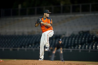 AZL Giants relief pitcher Julio Pena (32) delivers a pitch to the plate against the AZL Athletics on August 5, 2017 at Scottsdale Stadium in Scottsdale, Arizona. AZL Athletics defeated the AZL Giants 2-1. (Zachary Lucy/Four Seam Images)