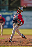 29 June 2014:  Lowell Spinners pitcher Enfember Martinez on the mound against the Vermont Lake Monsters at Centennial Field in Burlington, Vermont. The Spinners defeated the Lake Monsters 7-5 in NY Penn League action. Mandatory Credit: Ed Wolfstein Photo *** RAW Image File Available ****