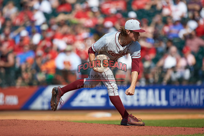 Florida State Seminoles starting pitcher Tyler Holton (14) in action against the Louisville Cardinals in Game Eleven of the 2017 ACC Baseball Championship at Louisville Slugger Field on May 26, 2017 in Louisville, Kentucky. The Seminoles defeated the Cardinals 6-2. (Brian Westerholt/Four Seam Images)
