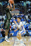 January 20, 2016 - Colorado Springs, Colorado, U.S. -  A Colorado State player takes a jump shot over Falcon, Hayden Graham #35, during an NCAA basketball game between the Colorado State University Rams and the Air Force Academy Falcons at Clune Arena, United States Air Force Academy, Colorado Springs, Colorado.  Colorado State defeats Air Force 83-79.