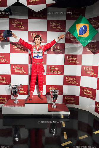 A wax figure of Ayrton Senna, Brazilian racing driver on display at the Madame Tussauds Tokyo wax museum in Odaiba, Tokyo, June 15, 2015. The world famous British wax museum ''Madame Tussauds'' opened its 14th permanent branch in Tokyo in 2013 and exhibits international and local celebrities, sports players and politicians. New additions to the collection include wax figures of the Japanese figure skater Yuzuru Hanyu and the actor Benedict Cumberbatch. The wax figure of Benedict Cumberbatch will be exhibited until June 30th. (Photo by Rodrigo Reyes Marin/AFLO)