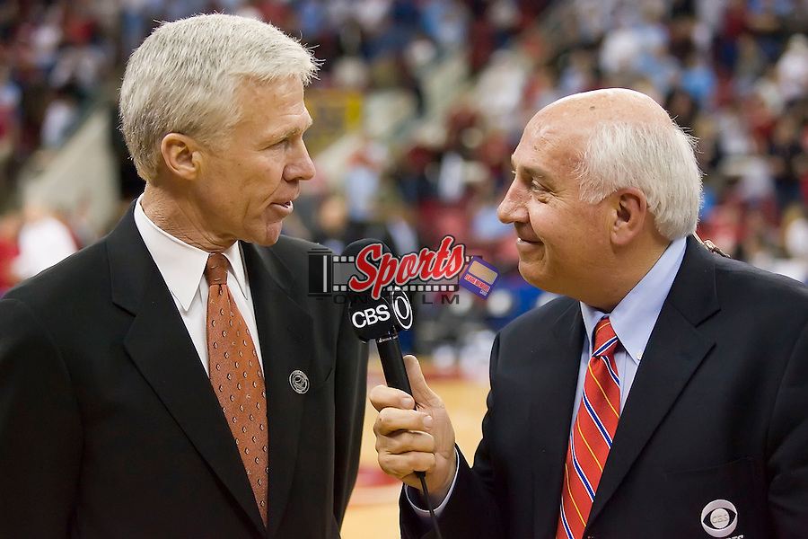 Davidson Wildcats head coach Bob McKillop is interviewed by Billy Packer of CBS following the Wildcats 82-76 upset of the Gonzaga Bulldogs in the first round of the 2008 NCAA Men's Basketball Championship at the RBC Center in Raleigh, NC, Friday, March 21, 2008.