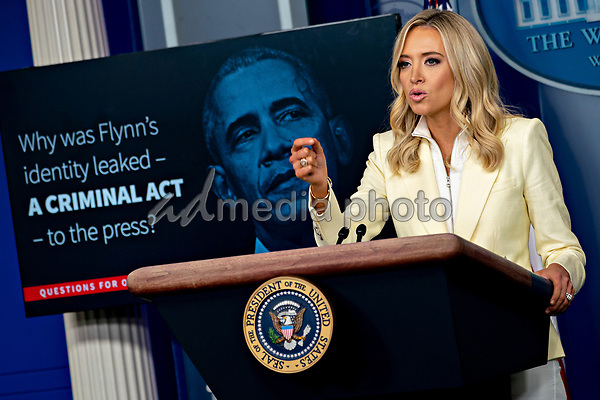 White House Press Secretary Kayleigh McEnany, speaks during a news conference in the Brady Press Briefing Room of the White House in Washington, D.C., U.S., on Friday, May 22, 2020. President Trump ordered states to allow churches to reopen from stay-at-home restrictions imposed to combat the coronavirus outbreak, saying he would override any governor who refuses.<br /> Credit: Andrew Harrer / Pool via CNP/AdMedia