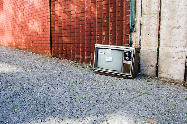 An abandoned television left on the street in the DUMBO neighborhood.