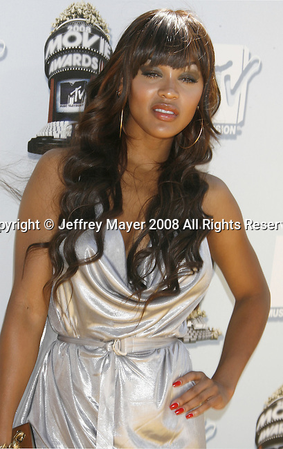 Actress Meagan Good arrives to the 2008 MTV Movie Awards on June 1, 2008 at the Gibson Amphitheatre in Universal City, California.