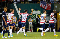 PORTLAND, Ore. - July 9, 2013: Landon Donovan reacts after scoring a goal on a penalty kick in the second half. The US Men's National team plays the National team of Belize during the 2013 Gold Cup at at JELD-WEN Field.