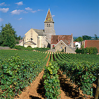 France, Burgundy, Cote d'Or, Fixin: Fixin wine-growing region in the Côte de Nuits subregion of Burgundy | Frankreich, Burgund, Côte d'Or, Fixin: Weinort mit dem Weinberg Côte De Nuits