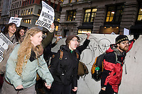 "Students, workers, and other supporters march from Union Square Park to demonstrate continued solidarity with the Occupy Wall Street movement on its two month anniversary, which the movement has dubbed its ""Day of Action"" in New York City, New York on 17 November 2011."