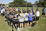 26 October 2008: Duke's players and staff huddle up before the game. The Duke University Blue Devils defeated the Clemson University Tigers 6-0 at Koskinen Stadium in Durham, North Carolina in an NCAA Division I Women's college soccer game.