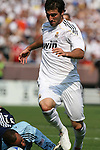 09 August 2009: Real Madrid's Gonzalo Higuain (ARG) gets around DC's Josh Wicks (GER) before scoring his second goal. Real Madrid of Spain's La Liga defeated DC United of Major League Soccer 3-0 at FedEx Field in Landover, Maryland in an international club friendly soccer match.