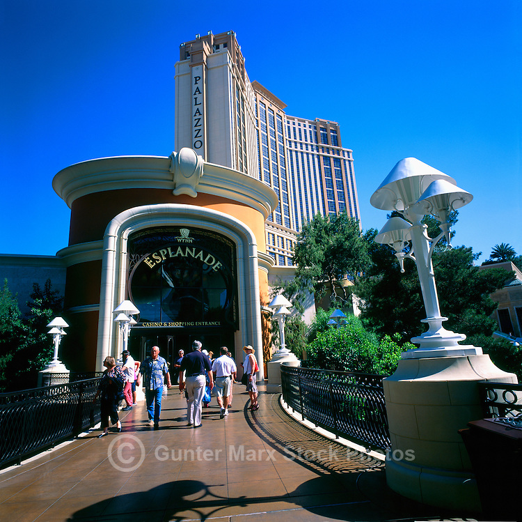 Las Vegas, Nevada, USA - Entrance to 'Wynn Esplanade' at Wynn Las Vegas & Encore Resort, along The Strip (Las Vegas Boulevard) - Palazzo Las Vegas Resort Hotel behind