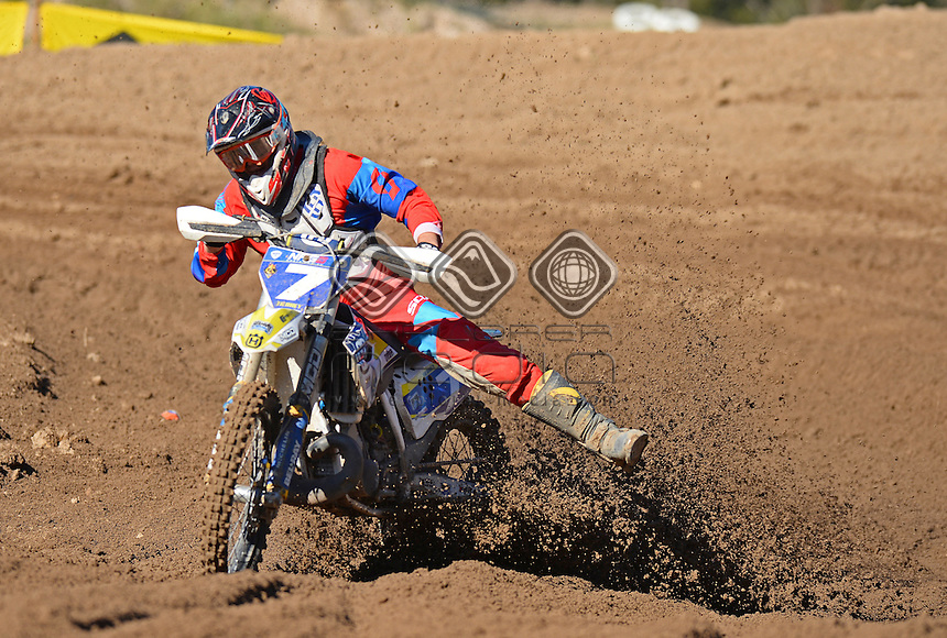 Connor Tierney / Husqvarna<br /> MX Nationals / Round 6 / MXD<br /> Australian Motocross Championships<br /> Raymond Terrace NSW<br /> Sunday 5 July 2015<br /> &copy; Sport the library / Jeff Crow