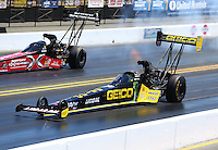 Jul. 27, 2014; Sonoma, CA, USA; NHRA top fuel driver Richie Crampton (near lane) races alongside Spencer Massey during the Sonoma Nationals at Sonoma Raceway. Mandatory Credit: Mark J. Rebilas-