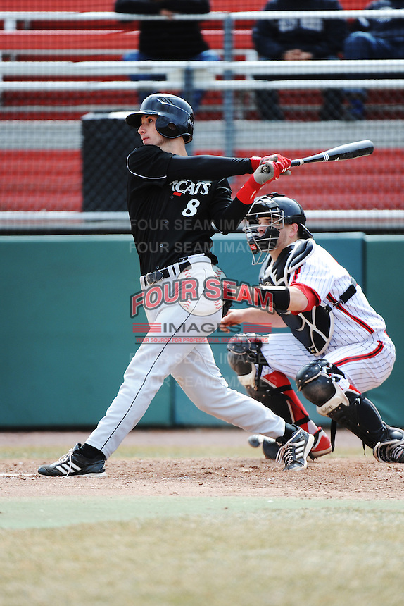 Cincinnati Bearcats infielder Devin Wenzel (8) during 1st game of double header against the St. John's Redstorm at Jack Kaiser Stadium on March 28, 2013 in Queens, New York. St. John's defeated Cincinnati 6-5.      . (Tomasso DeRosa/ Four Seam Images)
