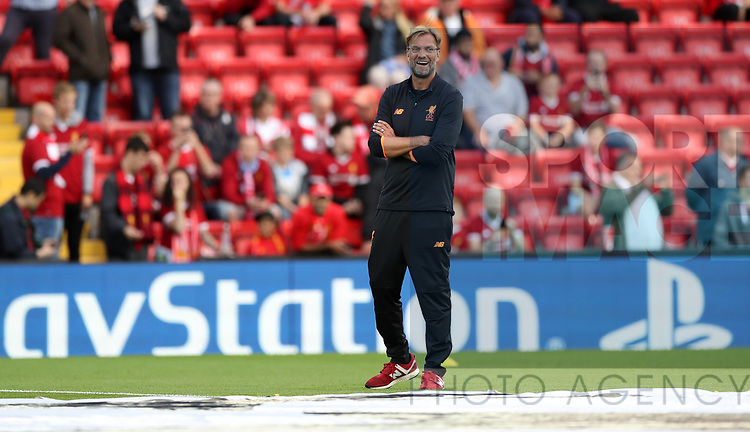 Jurgen Klopp manager of Liverpool  during the Champions League playoff round at the Anfield Stadium, Liverpool. Picture date 23rd August 2017. Picture credit should read: Lynne Cameron/Sportimage