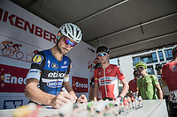 Tom Boonen (BEL/Etixx-QuickStep) signing in<br /> <br /> 12th Eneco Tour 2016 (UCI World Tour)<br /> stage 3: Blankenberge-Ardooie (182km)