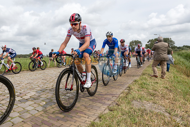 Luke Rowe (WAL) and Elia Viviani (ITA) in action during the Elite Men's Road Race during the 2019 UEC European Road Championships, Alkmaar, The Netherlands, 11 August 2019.<br /> <br /> Photo by Thomas van Bracht / PelotonPhotos.com | All photos usage must carry mandatory copyright credit (Peloton Photos | Thomas van Bracht)