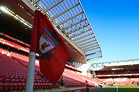 1st February 2020; Anfield, Liverpool, Merseyside, England; English Premier League Football, Liverpool versus Southampton; the corner flag at the Kop end and the main stand prior to the match