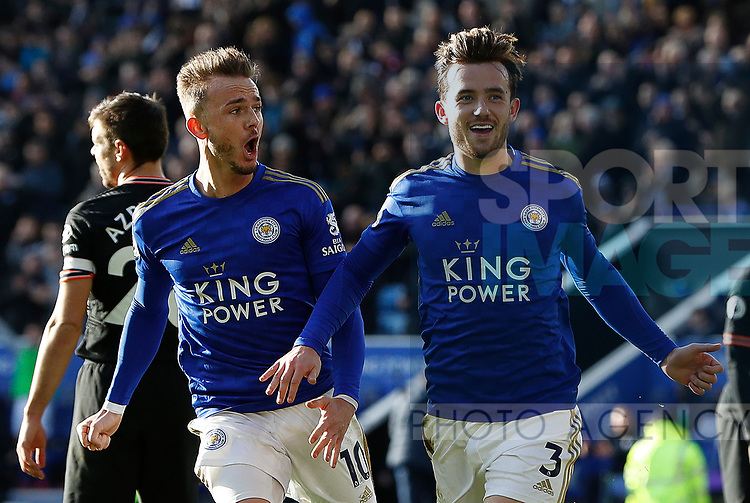 Ben Chilwell of Leicester City celebrates his goal against Chelsea with James Maddison during the Premier League match at the King Power Stadium, Leicester. Picture date: 1st February 2020. Picture credit should read: Darren Staples/Sportimage