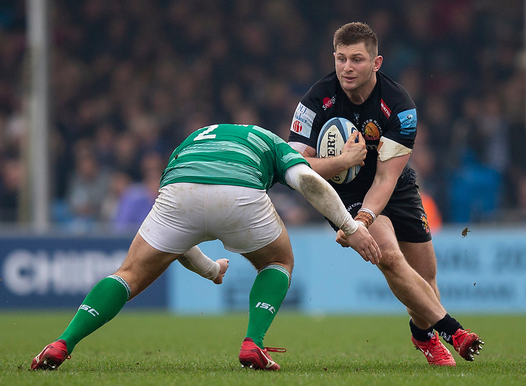 Exeter Chiefs' Alec Hepburn in action during todays match<br /> <br /> Photographer Bob Bradford/CameraSport<br /> <br /> Gallagher Premiership - Exeter Chiefs v Newcastle Falcons - Saturday 23rd February 2019 - Sandy Park - Exeter<br /> <br /> World Copyright © 2019 CameraSport. All rights reserved. 43 Linden Ave. Countesthorpe. Leicester. England. LE8 5PG - Tel: +44 (0) 116 277 4147 - admin@camerasport.com - www.camerasport.com