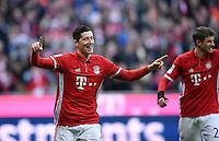 Fussball  1. Bundesliga  Saison 2016/2017  14. Spieltag  FC Bayern Muenchen - VfL Wolfsburg    10.12.2016 JUBEL FC Bayern Muenchen; Torschuetze zum 1-0 Robert Lewandowski