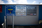 Signage on the exterior of the ground pictured before Warrington Town played King's Lynn Town in the Northern Premier League premier division super play-off final tie at Cantilever Park, Warrington. The one-off match was between the winners of play-off matches in the Northern Premier League and the Southern League Premier Division Central to determine who would be promoted to the National League North. The visitors from Norfolk won 3-2 after extra-time, watched by a near-capacity crowd of 2,200.