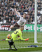 Burnley's Ashley Barnes scores past West Ham United's Joe Hart but the goal was ruled out for offside<br /> <br /> Photographer Rob Newell/CameraSport<br /> <br /> The Premier League - West Ham United v Burnley - Saturday 10th March 2018 - London Stadium - London<br /> <br /> World Copyright &copy; 2018 CameraSport. All rights reserved. 43 Linden Ave. Countesthorpe. Leicester. England. LE8 5PG - Tel: +44 (0) 116 277 4147 - admin@camerasport.com - www.camerasport.com