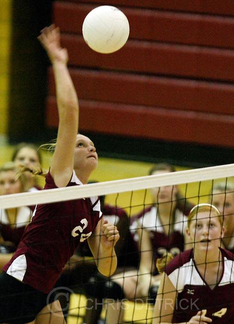 Chris Detrick  |  The Salt Lake Tribune.Viewmont's Jenna Sawatzki (24) spikes the ball during the match at Viewmont High School Tuesday August 23, 2011.