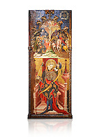 Gothic altarpiece depicting top, Calvary, bottom, St Sebastia (Sebastian) , by Joan Mates of Villafranca de Penedes, circa 1417-1425, from the refrectory of Pia Almoina, Barcelona, Temperal and gold leaf on wood.  National Museum of Catalan Art, Barcelona, Spain, inv no: MNAC  32340. Joan Mates was a Spanish painter of the International Gothic style. Against a white background.