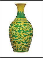 BNPS.co.uk (01202 558833)<br /> Pic: Christie's/BNPS<br /> <br /> ***Please use full byline***<br /> <br /> A vase that was used to keep flowers in by its unwitting owners has sold for &pound;3 million after it was revealed to be a rare 18th century Chinese relic.<br /> <br /> The 16-inch yellow and green ceramic was sat on top of a chest of drawers in its owners' house when eagle-eyed auctioneers spotted its significance.<br /> <br /> But even the experts at Christie's in London underestimated its true worth after it sold for 15 times the &pound;200,000 price they tipped it to fetch.<br /> <br /> Unbeknownst to its owners the vase was actually a remarkable 300-year-old artefact from the Imperial kilns of the Yongzheng emperor.