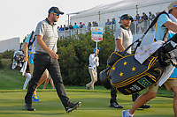 Marc Leishman (AUS) and Jason Day (AUS) make their way down 17 during round 2 Four-Ball of the 2017 President's Cup, Liberty National Golf Club, Jersey City, New Jersey, USA. 9/29/2017.<br /> Picture: Golffile | Ken Murray<br /> <br /> All photo usage must carry mandatory copyright credit (&copy; Golffile | Ken Murray)