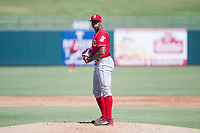 Cincinnati Reds pitcher Hunter Greene (21) prepares to deliver a pitch during an Instructional League game against the Kansas City Royals October 2, 2017 at Surprise Stadium in Surprise, Arizona. (Zachary Lucy/Four Seam Images)