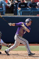 Derek Odell #2 of the TCU Horned Frogs bats against the Cal State Fullerton Titans at Goodwin Field on February 26, 2012 in Fullerton,California. Fullerton defeated TCU 11-10.(Larry Goren/Four Seam Images)