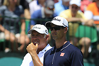 Adam Scott (AUS) and caddy Steve Williams on the 1st tee to start his match during Thursday's Round 1 of the 117th U.S. Open Championship 2017 held at Erin Hills, Erin, Wisconsin, USA. 15th June 2017.<br /> Picture: Eoin Clarke | Golffile<br /> <br /> <br /> All photos usage must carry mandatory copyright credit (&copy; Golffile | Eoin Clarke)