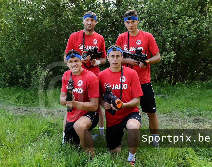 KV Kortrijk Stage Berck sur Mer : teambuilding met team 'Servi&euml; / Balkan' : Nebojsa Pavlovic , Zarko Tomasevic , Ivan Santini en Adam Marusic <br /> foto VDB / BART VANDENBROUCKE