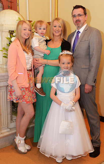 Lourdes Communion – Emily Byrne with her parents Adrienne and Andrew, sister Kayleigh and brother Christopher.
