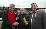Donal Culloty is congratulated by Danny Tim O'Sullivan and  Donal Martin Griffin after Best Mate won the Cheltenham Gold Cup.<br />Picture by Don MacMonagle
