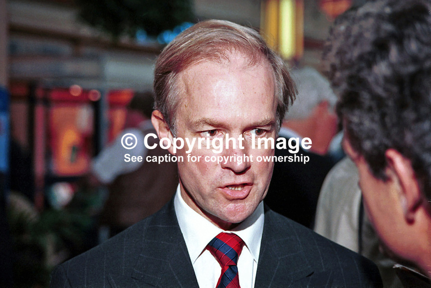 Peter Lilley, MP, Conservative Party, Ex-Minister, Britain, UK.  Ref:199710181. Taken Annual Conference, Winter Garden, Blackpool.<br /> <br /> Copyright Image from Victor Patterson,<br /> 54 Dorchester Park, <br /> Belfast, UK, BT9 <br /> <br /> t1: +44 28 9066 1296 (from Rep of Ireland 048 90661296)<br /> t2: +44 28 9002 2446 (from Rep of Ireland 048 9002 2446)<br /> <br /> m: +44 7802 353836<br /> <br /> e: victorpatterson@me.com<br /> www.victorpatterson.com<br /> <br /> Please see my Terms and Conditions of Use at www.victorpatterson.com. It is IMPORTANT that you familiarise yourself with them.<br /> <br /> Images used on the Internet must be visibly watermarked i.e. &copy; Victor Patterson<br /> within the body of the image and copyright metadata must not be deleted. Images <br /> used on the Internet have a size restriction of 4kbs and will be chargeable at current<br />  NUJ rates unless agreed otherwise.<br /> <br /> This image is only available for the use of the download recipient i.e. television station, newspaper, magazine, book publisher, etc, and must not be passed on to any third <br /> party. It is also downloaded on condition that each and every usage is notified within 7 days to victorpatterson@me.com<br /> <br /> The right of Victor Patterson to be identified as the author is asserted in accordance with The Copyright Designs And Patents Act (1988). All moral rights are asserted.