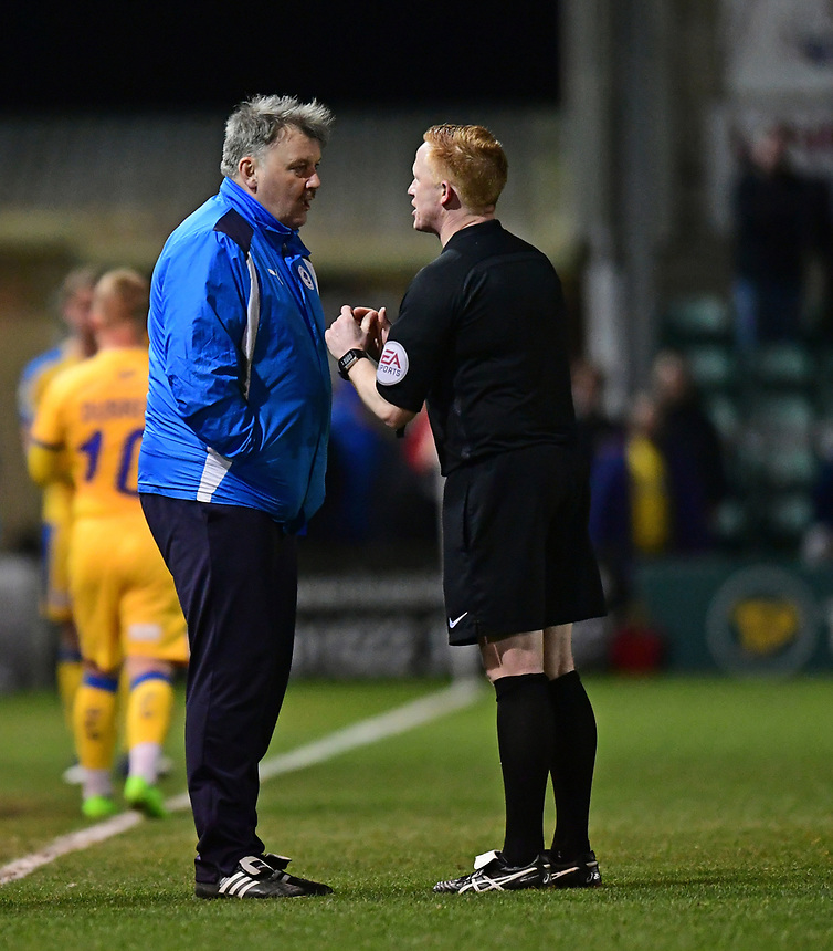 Referee Alan Young speaks to Chester's goalkeeping coach David Felgate<br /> <br /> Photographer Chris Vaughan/CameraSport<br /> <br /> Vanarama National League - Lincoln City v Chester - Tuesday 11th April 2017 - Sincil Bank - Lincoln<br /> <br /> World Copyright &copy; 2017 CameraSport. All rights reserved. 43 Linden Ave. Countesthorpe. Leicester. England. LE8 5PG - Tel: +44 (0) 116 277 4147 - admin@camerasport.com - www.camerasport.com