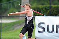 11 May 2013:  Decathalon competitors throw the javelin at the 2013 Sun Belt Conference Outdoor Track & field Championships at the Ansin Sports Complex in Miramar, Florida.