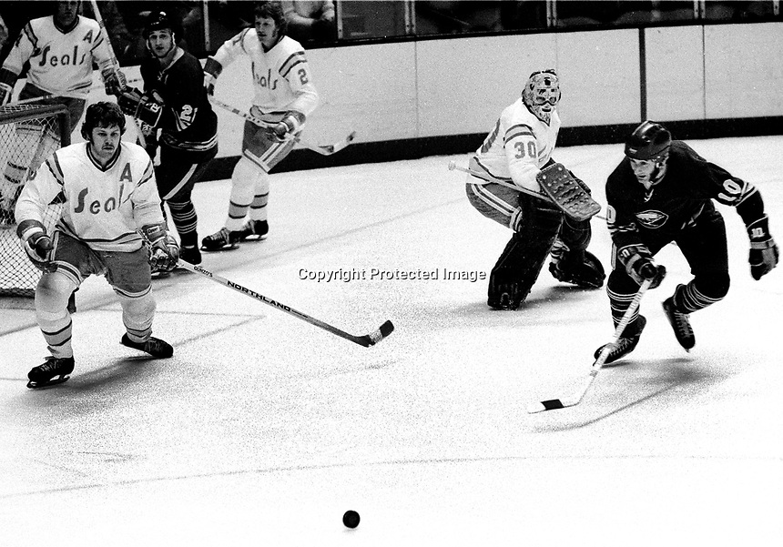 Seals Len Frig and goalie Gary Simmons defend against Buffalo Sabres C   Ramsay. (1975 photo/Ron Riesterer)