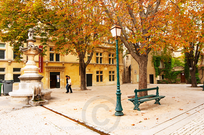 A town square in the old town, with trees with leaves in autumn colour, two girls walking, a fountain, a lamp post, a park bench. Place Pelissier Saint Remy Rémy de Provence, Bouches du Rhone, France, Europe