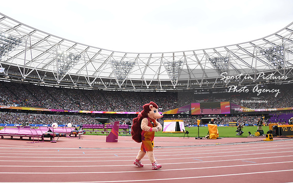 Hero the hedgehog goes fishing. IAAF world athletics championships. London Olympic stadium. Queen Elizabeth Olympic park. Stratford. London. UK. 12/08/2017. ~ MANDATORY CREDIT Garry Bowden/SIPPA - NO UNAUTHORISED USE - +44 7837 394578
