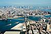 Aerial view of Midtown Manhattan, Brooklyn Bridge, Williamsburg Bridge and the Dumbo area of Brooklyn new york