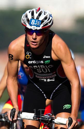 26 MAY 2012 - MADRID, ESP - Nicola Spirig (SUI) of Switzerland on the bike during the elite women's 2012 World Triathlon Series round in Casa de Campo, Madrid, Spain (PHOTO (C) 2012 NIGEL FARROW)