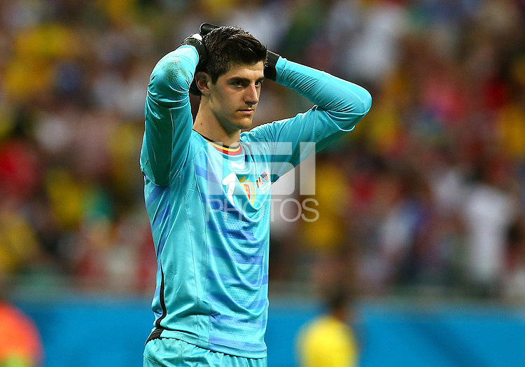 Belgium goalkeeper Thibaut Courtois shows a look of dejection after a missed chance