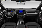 Stock photo of straight dashboard view of 2020 Ford Explorer XLT 5 Door SUV Dashboard