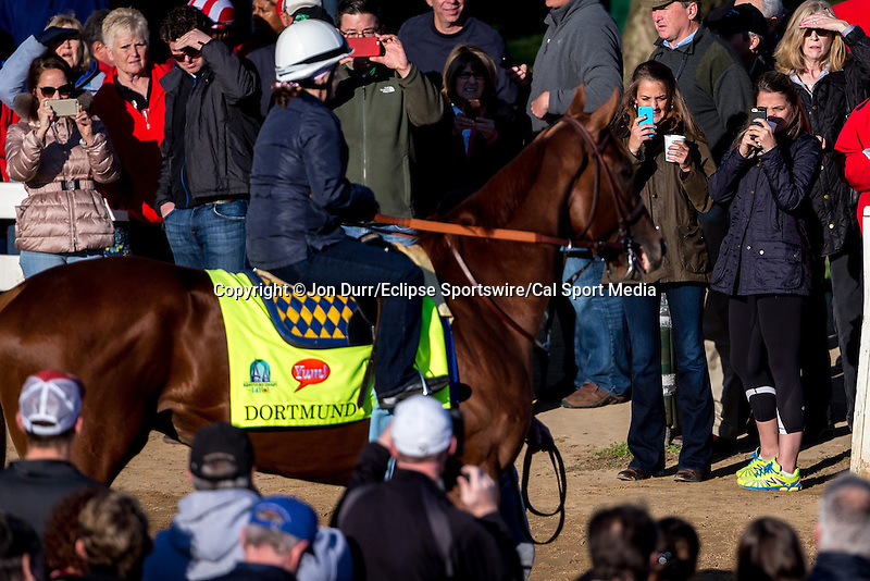 APRIL 28, 2015: Spectators take photographs of Dortmund, trained by Bob Baffert, before morning workouts in preparation for the 141st Kentucky Derby at Churchill Downs in Louisville, Kentucky. Jon Durr/ESW/Cal Sport Media