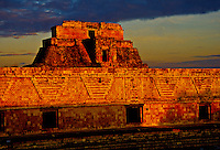 The Nunnery (front) and Pyramid of the Magician (behind), Uxmal archeaological site, Yucatan Peninsula, Mexico